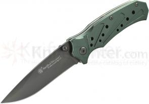 Smith & Wesson Extreme Ops Linerlock 3.1 inch Plain Silver Clip Point Blade, Silver Aluminum Handles
