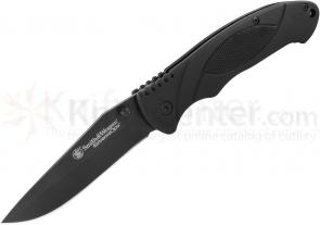 Smith & Wesson Extreme Ops Linerlock 3.3 inch Plain Black Drop Point Blade, Black Aluminum Handles