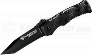 Smith & Wesson Black Ops MAGIC Small Assisted 2.6 inch Plain Tanto Blade, Black Aluminum Handles