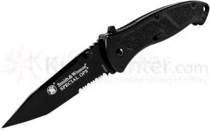 Smith & Wesson Special Ops (Large) 3.7 inch Assisted Tanto Combo Blade, Black Handle