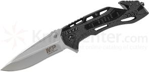 Smith & Wesson SWMP10 M&P Flipper 3.87 inch Bead Blast Drop Point Blade, Aluminum Handles, Strap Cutter, Glass Breaker