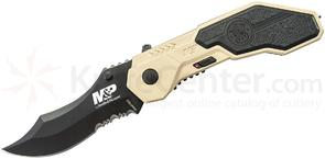 Smith & Wesson SWMP1BSD M&P MAGIC Assisted Flipper 2.9 inch Black Combo Blade, Desert Tan Aluminum Handles with Rubber Inlays