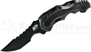 Smith & Wesson M&P MAGIC MP6 Assisted 3.4 inch Black Combo Blade, Grey Aluminum Handles