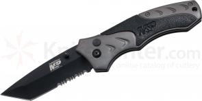 Smith & Wesson SWMP7TS M&P Folding Knife 3.4 inch Black Combo Tanto Blade, Gray Aluminum Handles with Black Rubber Inserts