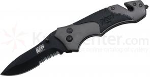Smith & Wesson M&P8BS Manual 3.4 inch Black Combo Blade, Gray Aluminum Handles