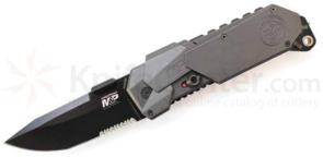 Smith & Wesson M&P MAGIC MP9BS Assisted 3.5 inch Black Combo Blade, Grey Aluminum Handles