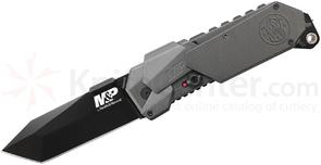 Smith & Wesson SWMP9BT M&P MAGIC Assisted 3.5 inch Black Plain Tanto Blade, Gray Aluminum Handles