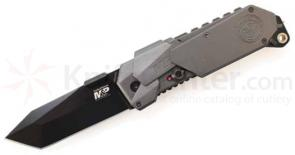 Smith & Wesson M&P MAGIC MP9BT Assisted 3.5 inch Plain Tanto Blade, Grey Aluminum Handles