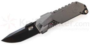 Smith & Wesson M&P MAGIC MP9B Assisted 3.5 inch Plain Black Blade, Grey Aluminum Handles