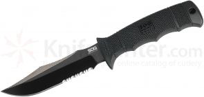 SOG E37SK SEAL Pup Elite Fixed 4.85 inch Black Tini Combo Blade, GRN Handles, Kydex Sheath