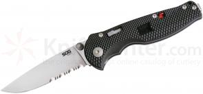 SOG FSA97 Flash I Folding Knife Assisted 2.5 inch Satin Combo Blade, Black GRN Handles