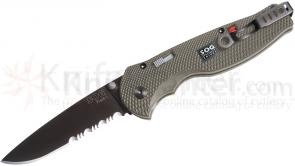 SOG STGFSA-97 Flash 1 Assisted 2.5 inch Black Combo Blade, Aluminum Handles
