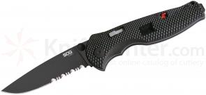 SOG TFSA97 Flash I Folding Knife Assisted 2.5 inch Black TiNi Combo Blade, Black GRN Handles