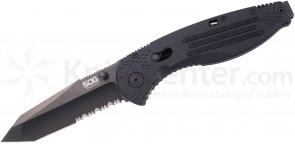 SOG AE04 Aegis Folding Knife Assisted 3.5 inch Black TiNi Combo Tanto Blade, Black GRN Handles