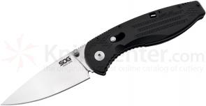 SOG AE21 Aegis Mini Folding Knife Assisted 3 inch Satin Plain Blade, Black FRN Handles