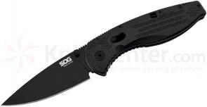 SOG AE22 Aegis Mini Folding Knife Assisted 3 inch Black TiNi Plain Blade, Black GRN Handles