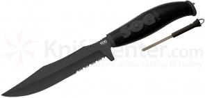 SOG AU03 Aura SEAL Bowie Fixed 6.9 inch Black TiNi Combo Blade, GFN Handle