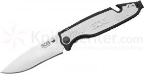 SOG Boot Camp Outdoor Assisted 3.75 inch Satin Plain Blade, GRN and Aluminum Handles (BCP202)