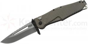 SOG IM1101 Quake XL Folding Knife 4.5 inch Two-Tone VG-10 Plain Blade, Aluminum Handles