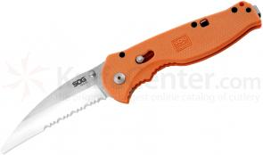 SOG OFSA6 Flash Rescue Folding Knife Assisted 3.5 inch Satin Combo Blade, Orange GRN Handles