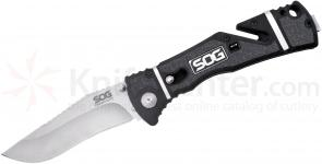 SOG Trident Elite Assisted Folding 3.7 inch Satin AUS-8 Plain Blade, GRN and Rubber Handles (TF101)