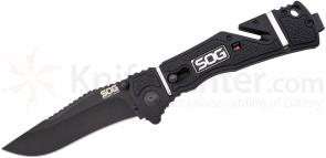 SOG Trident Elite Assisted Folding 3.7 inch Black TiNi AUS-8 Plain Blade, GRN and Rubber Handles (TF102)