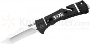 SOG TF103 Trident Elite Assisted Folding Knife 3.7 inch Satin Plain Tanto Blade, GRN and Rubber Handles