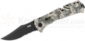 SOG TF10 Trident Folding Knife Assisted 3.75 inch Black TiNi Combo Blade, ACU Digital Camo GRN Handles