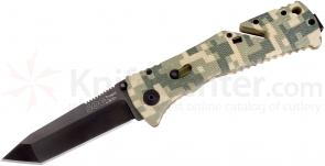 SOG TF11 Trident Folding Knife Assisted 3.75 inch Black TiNi Combo Tanto Blade, ACU Digital Camo GRN Handles