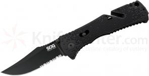 SOG TF21 Trident Mini Folding Knife Assisted 3.15 inch Black TiNi Combo Blade, Black GRN Handles