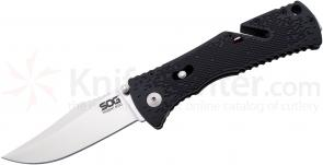 SOG TF22 Trident Mini Folding Assisted 3.15 inch Satin Plain Blade, Black GRN Handles