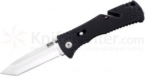SOG TF26 Trident Mini Assisted Folding Knife 3.15 inch Satin Plain Tanto Blade, Black GRN Handles