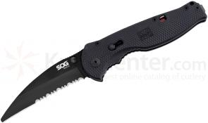 SOG TFSA6 Flash Rescue Folding Knife Assisted 3.5 inch Black Combo Blade, Black GRN Handles