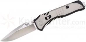 SOG Flashback Assisted 3.5 inch Satin Plain Blade, GRN and Stainless Steel Handles (SAT001)