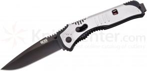 SOG Flashback Assisted 3.5 inch Black Plain Blade, GRN and Stainless Steel Handles (SAT002)