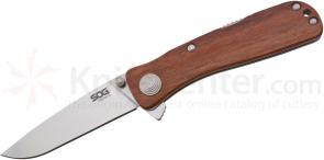SOG TWI17 Twitch II Folding Knife Assisted 2.65 inch Satin Plain Blade, Rosewood Handles