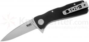 SOG TWI22 Twitch XL Folding Knife Assisted 3.25 inch Satin Plain Blade, Black Aluminum Handles