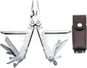 SOG PowerLock EOD w/ V-Cutter Stainless Finish Multi-Tool with Leather Sheath