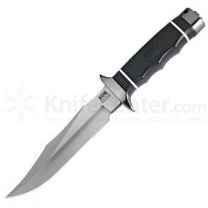 SOG TECH Bowie Fixed Knife w/ Satin Plain Blade & Kraton Rubber Handle