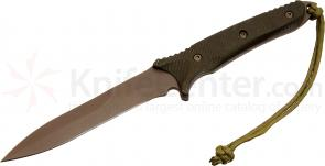 Spartan Blades Breed Fighting Dagger 5-1/2 inch S35VN FDE Single Edge Blade, Green Micarta Handles, Tan MOLLE Sheath