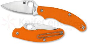 Spyderco UK Penknife 3 inch S30V Plain Leaf Blade, Safety Orange G10 Handle