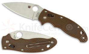 Spyderco C101PBN2 Manix 2 Lightweight Folding Knife 3.37 inch Satin Plain CTS-XHP Blade, Brown FRN Handles - KnifeCenter Exclusive