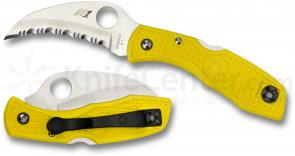 Spyderco C106SYL Tasman Salt Folding Knife 2-15/16 inch H1 Serrated Hawkbill Blade, Yellow FRN Handles