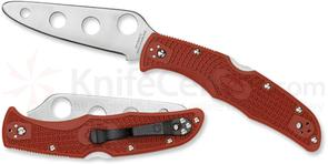 Spyderco C10TR Endura 4 Trainer Folding Knife 3.563 inch Unsharpened Blade, Red FRN Handles