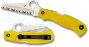 Spyderco C118SYL Salt Saver Folding Knife 3-3/32 inch H-1 Serrated Blade, Yellow FRN Handles