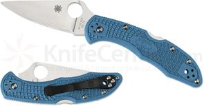 Spyderco C11FPBL Delica 4 Flat Ground 2-7/8 inch VG10 Satin Plain Blade, Blue FRN Handles
