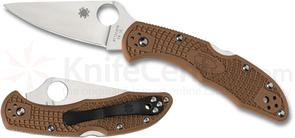 Spyderco C11FPBN Delica 4 Flat Ground 2-7/8 inch VG10 Satin Plain Blade, Brown FRN Handles