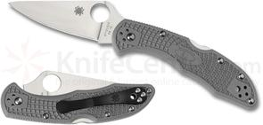 Spyderco C11FPGY Delica 4 Flat Ground 2-7/8 inch VG10 Satin Plain Blade, Gray FRN Handles