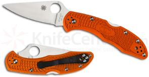 Spyderco C11FPOR Delica 4 Flat Ground 2-7/8 inch VG10 Satin Plain Blade, Orange FRN Handles