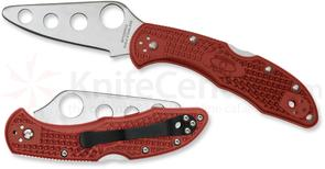 Spyderco C11TR Delica 4 Trainer Folding Knife 2.75 inch Unsharpened Blade, Red FRN Handles